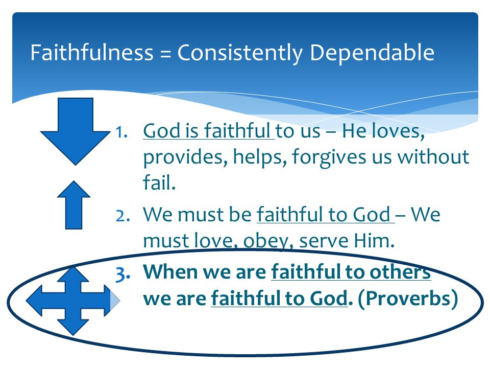 Faithfulness = Consistently Dependable 1.God is faithful to us – He loves, provides, helps, forgives us without fail.