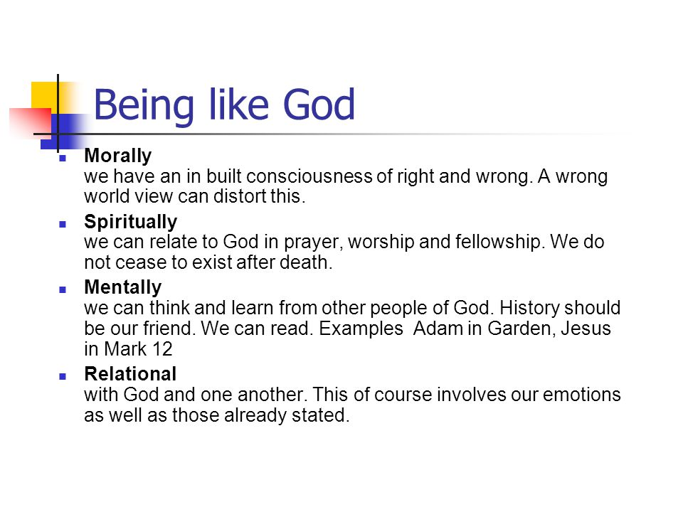 Being like God Morally we have an in built consciousness of right and wrong. A wrong world view can distort this. Spiritually we can relate to God in
