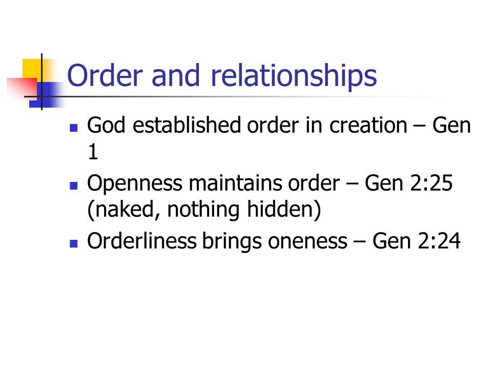 Order and relationships God established order in creation – Gen 1 Openness maintains order – Gen 2:25 (naked, nothing hidden) Orderliness brings onene