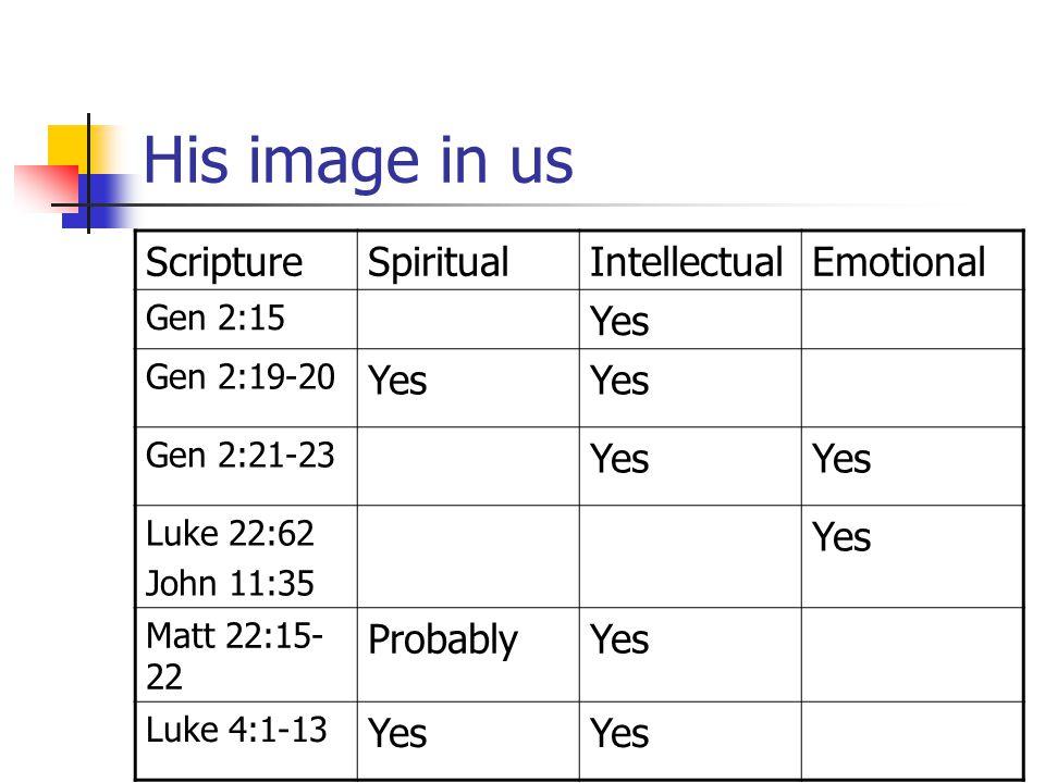 His image in us ScriptureSpiritualIntellectualEmotional Gen 2:15 Yes Gen 2:19-20 Yes Gen 2:21-23 Yes Luke 22:62 John 11:35 Yes Matt 22:15- 22 Probably