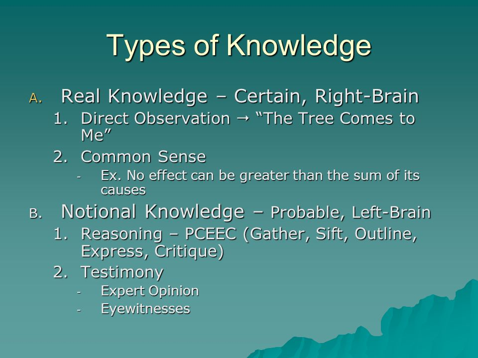 """Types of Knowledge A. Real Knowledge – Certain, Right-Brain 1.Direct Observation  """"The Tree Comes to Me"""" 2.Common Sense - Ex. No effect can be greate"""