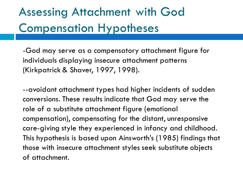 Assessing Attachment with God Compensation Hypotheses -God may serve as a compensatory attachment figure for individuals displaying insecure attachmen