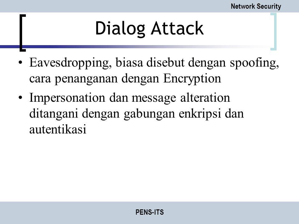 Network Security PENS-ITS Dialog Attack Eavesdropping, biasa disebut dengan spoofing, cara penanganan dengan Encryption Impersonation dan message alte
