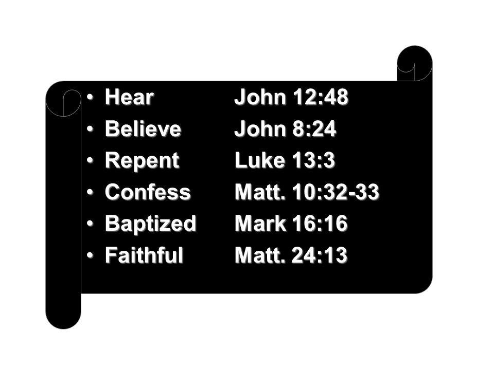 HearJohn 12:48HearJohn 12:48 BelieveJohn 8:24BelieveJohn 8:24 RepentLuke 13:3RepentLuke 13:3 ConfessMatt.