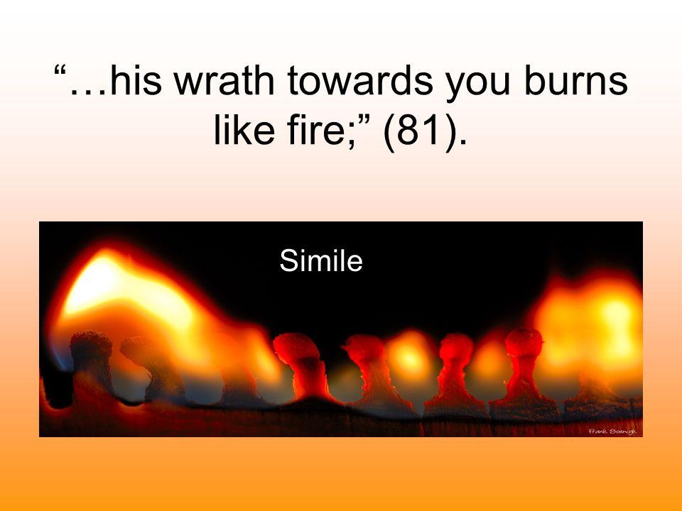 """…his wrath towards you burns like fire;"" (81). Simile"