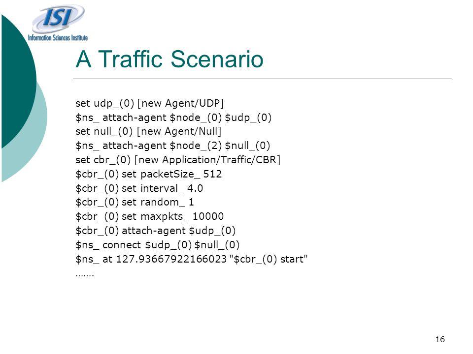16 A Traffic Scenario set udp_(0) [new Agent/UDP] $ns_ attach-agent $node_(0) $udp_(0) set null_(0) [new Agent/Null] $ns_ attach-agent $node_(2) $null_(0) set cbr_(0) [new Application/Traffic/CBR] $cbr_(0) set packetSize_ 512 $cbr_(0) set interval_ 4.0 $cbr_(0) set random_ 1 $cbr_(0) set maxpkts_ 10000 $cbr_(0) attach-agent $udp_(0) $ns_ connect $udp_(0) $null_(0) $ns_ at 127.93667922166023 $cbr_(0) start …….