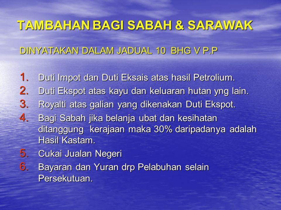 TAMBAHAN BAGI SABAH & SARAWAK DINYATAKAN DALAM JADUAL 10 BHG V P.P 1. Duti Impot dan Duti Eksais atas hasil Petrolium. 2. Duti Ekspot atas kayu dan ke