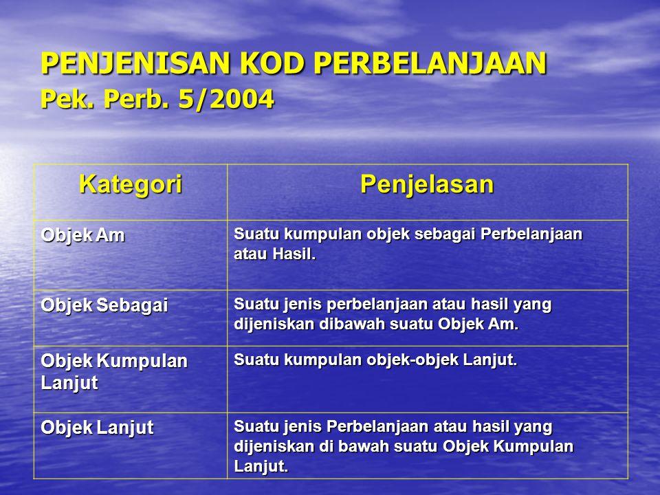 PENJENISAN KOD PERBELANJAAN Pek. Perb. 5/2004 KategoriPenjelasan Objek Am Suatu kumpulan objek sebagai Perbelanjaan atau Hasil. Objek Sebagai Suatu je