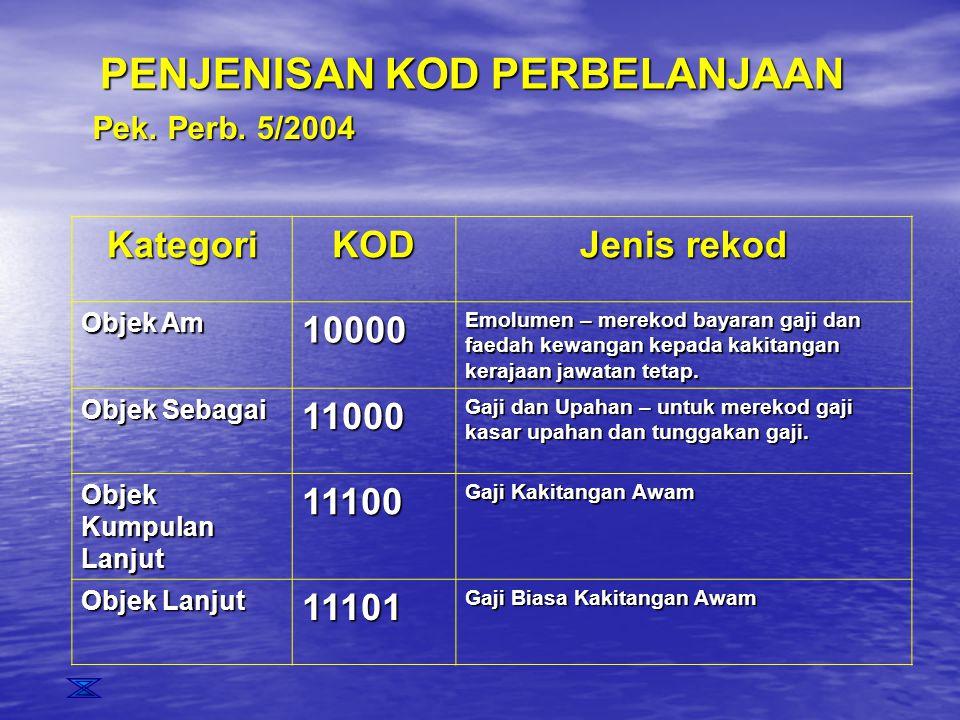 PENJENISAN KOD PERBELANJAAN KategoriKOD Jenis rekod Objek Am 10000 Emolumen – merekod bayaran gaji dan faedah kewangan kepada kakitangan kerajaan jawa