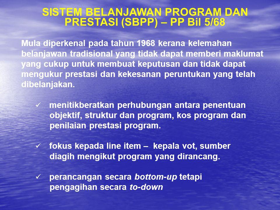 SISTEM BELANJAWAN PROGRAM DAN PRESTASI (SBPP) – PP Bil 5/68 Mula diperkenal pada tahun 1968 kerana kelemahan belanjawan tradisional yang tidak dapat m