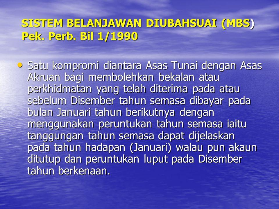 SISTEM BELANJAWAN DIUBAHSUAI (MBS) Pek. Perb. Bil 1/1990 Satu kompromi diantara Asas Tunai dengan Asas Akruan bagi membolehkan bekalan atau perkhidmat