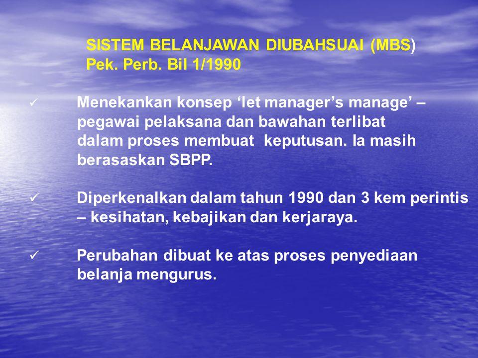 SISTEM BELANJAWAN DIUBAHSUAI (MBS) Pek. Perb. Bil 1/1990 Menekankan konsep 'let manager's manage' – pegawai pelaksana dan bawahan terlibat dalam prose
