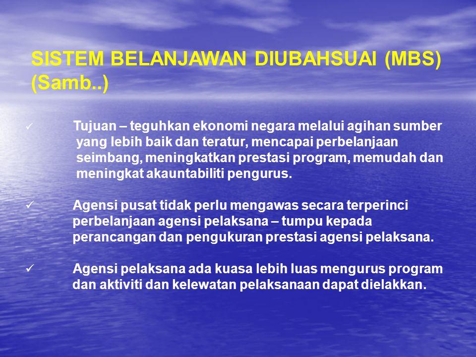 SISTEM BELANJAWAN DIUBAHSUAI (MBS) (Samb..) Tujuan – teguhkan ekonomi negara melalui agihan sumber yang lebih baik dan teratur, mencapai perbelanjaan