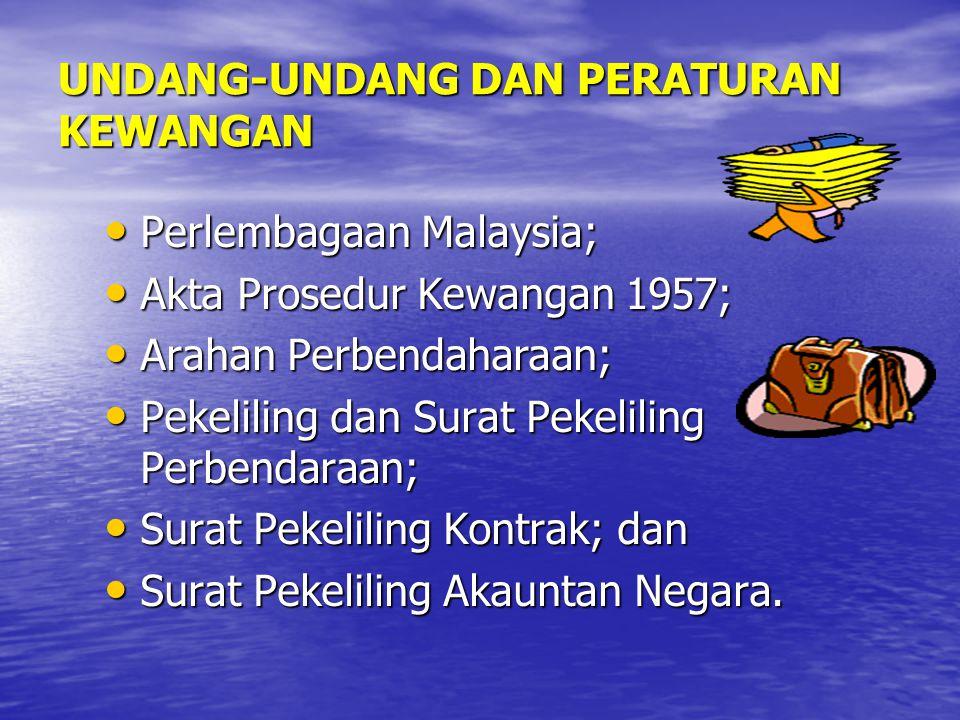 UNDANG-UNDANG DAN PERATURAN KEWANGAN Perlembagaan Malaysia; Perlembagaan Malaysia; Akta Prosedur Kewangan 1957; Akta Prosedur Kewangan 1957; Arahan Pe