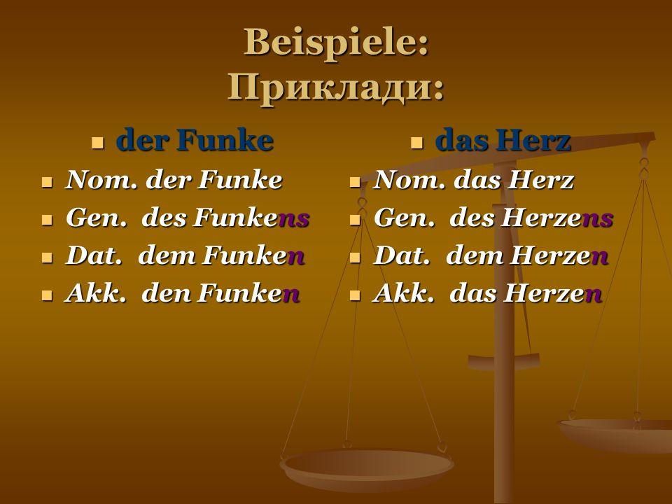 Beispiele: Приклади: der Funke der Funke Nom. der Funke Nom. der Funke Gen. des Funkens Gen. des Funkens Dat. dem Funken Dat. dem Funken Akk. den Funk
