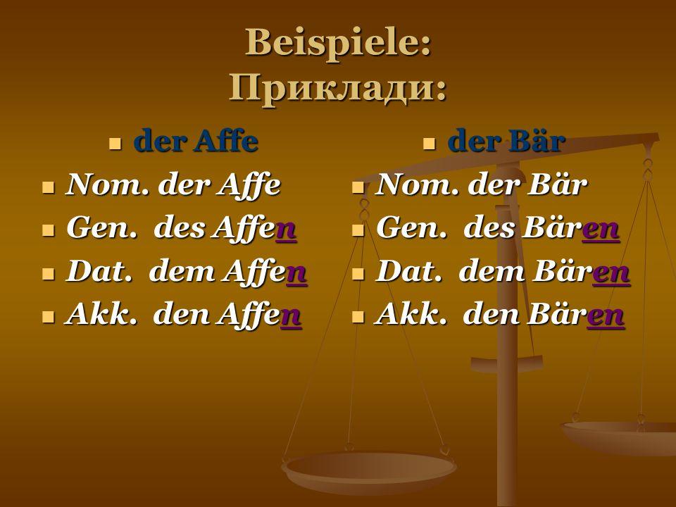 Beispiele: Приклади: der Affe der Affe Nom. der Affe Nom. der Affe Gen. des Affen Gen. des Affen Dat. dem Affen Dat. dem Affen Akk. den Affen Akk. den