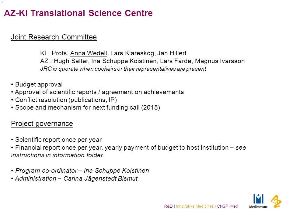 R&D | Innovative Medicines | CNSP iMed AZ-KI Translational Science Centre Joint Research Committee KI : Profs. Anna Wedell, Lars Klareskog, Jan Hiller