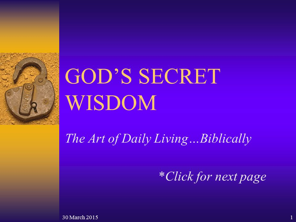 Jennifer Hope Webster GOD'S SECRET WISDOM The art of daily living, Biblically11 4.