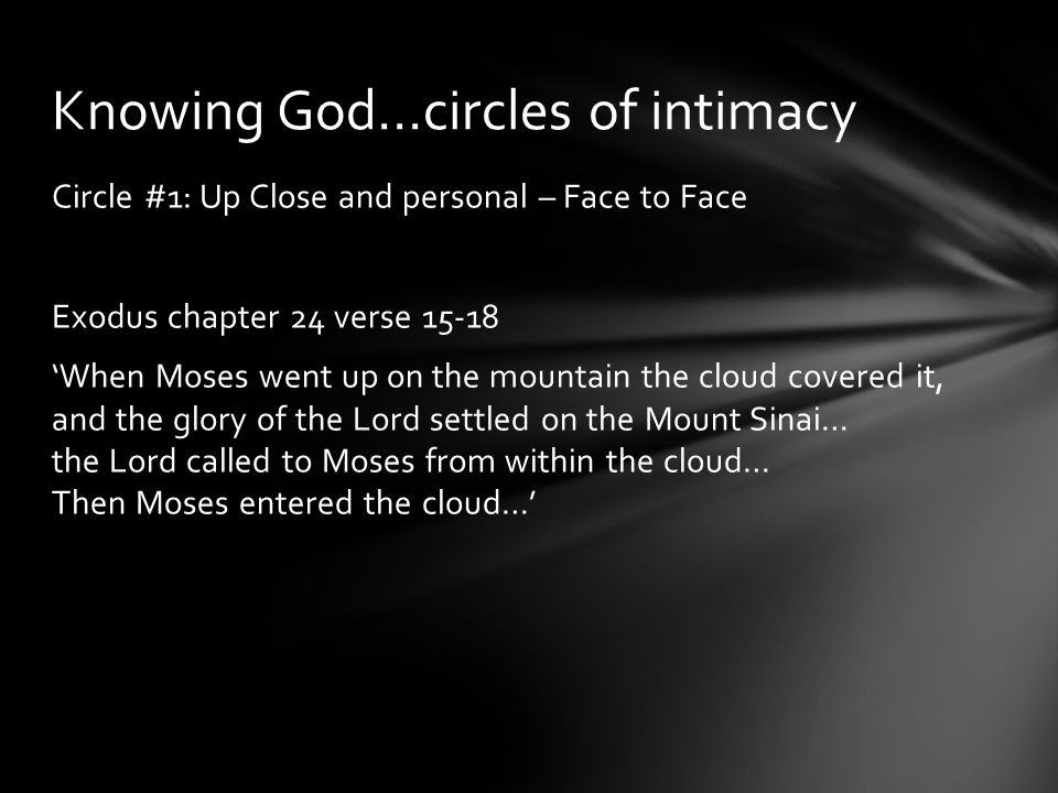 Circle #1: Up Close and personal – Face to Face Exodus chapter 24 verse 15-18 'When Moses went up on the mountain the cloud covered it, and the glory of the Lord settled on the Mount Sinai… the Lord called to Moses from within the cloud… Then Moses entered the cloud…' Knowing God…circles of intimacy