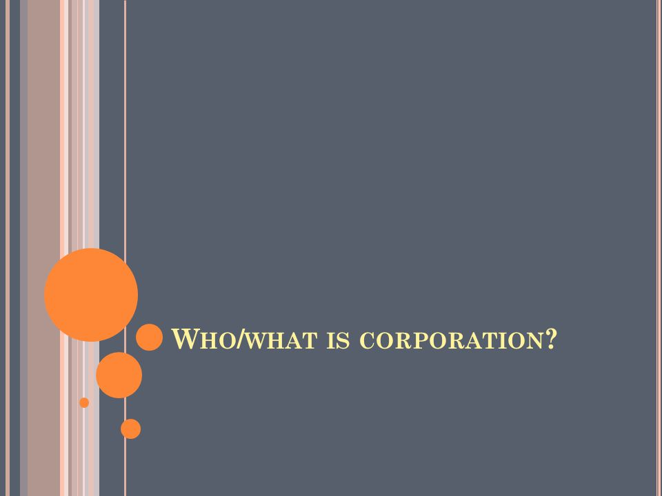W HO / WHAT IS CORPORATION ?