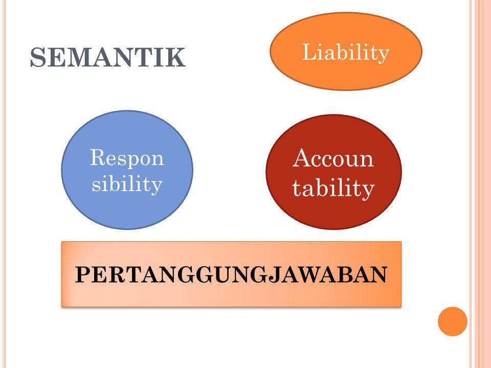 SEMANTIK Accoun tability Respon sibility PERTANGGUNGJAWABAN Liability