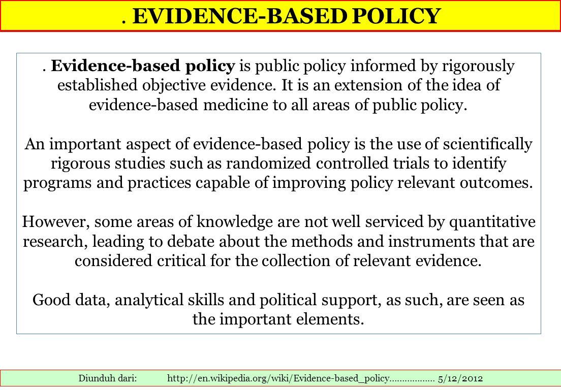 EVIDENCE-BASED POLICY Diunduh dari: http://en.wikipedia.org/wiki/Evidence-based_policy……………… 5/12/2012.