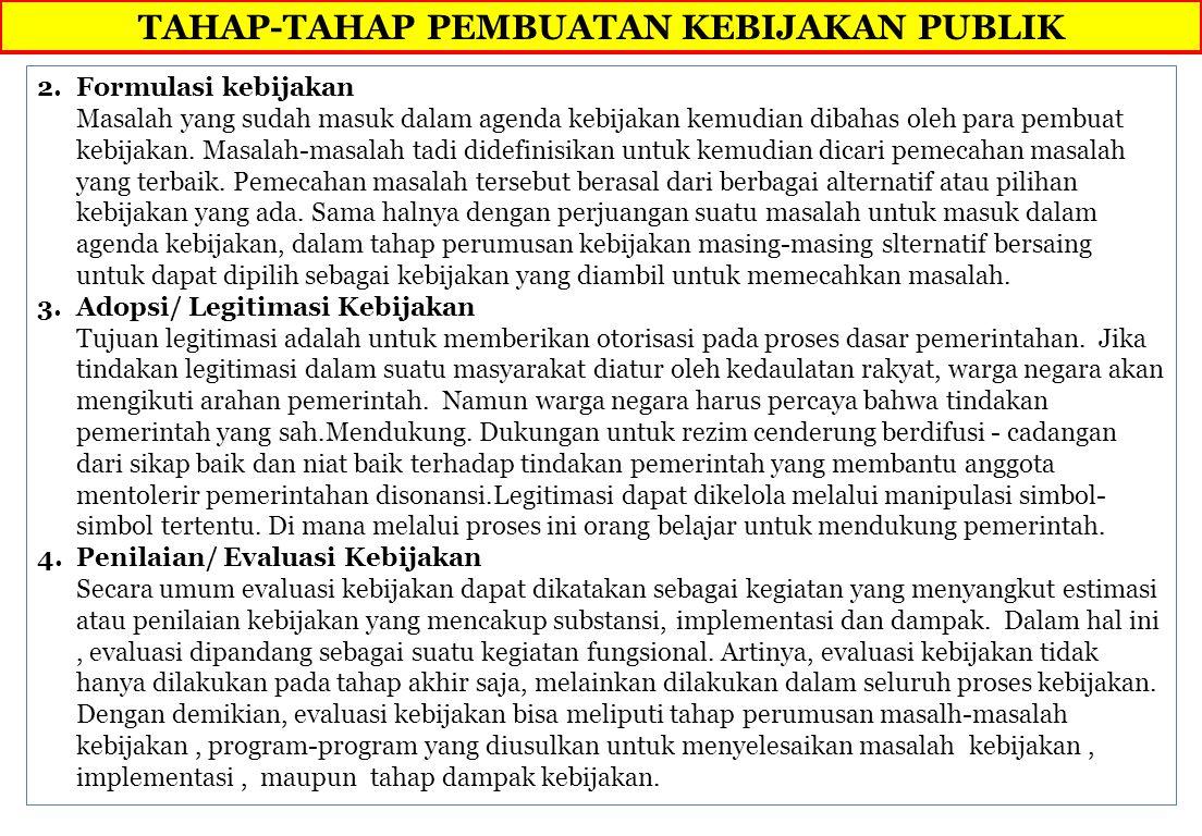 TAHAP-TAHAP PEMBUATAN KEBIJAKAN PUBLIK 2.Formulasi kebijakan Masalah yang sudah masuk dalam agenda kebijakan kemudian dibahas oleh para pembuat kebijakan.