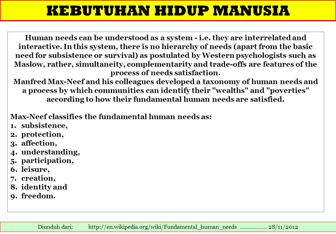KEBUTUHAN HIDUP MANUSIA Diunduh dari: http://en.wikipedia.org/wiki/Fundamental_human_needs ……………… 28/11/2012 Human needs can be understood as a system - i.e.