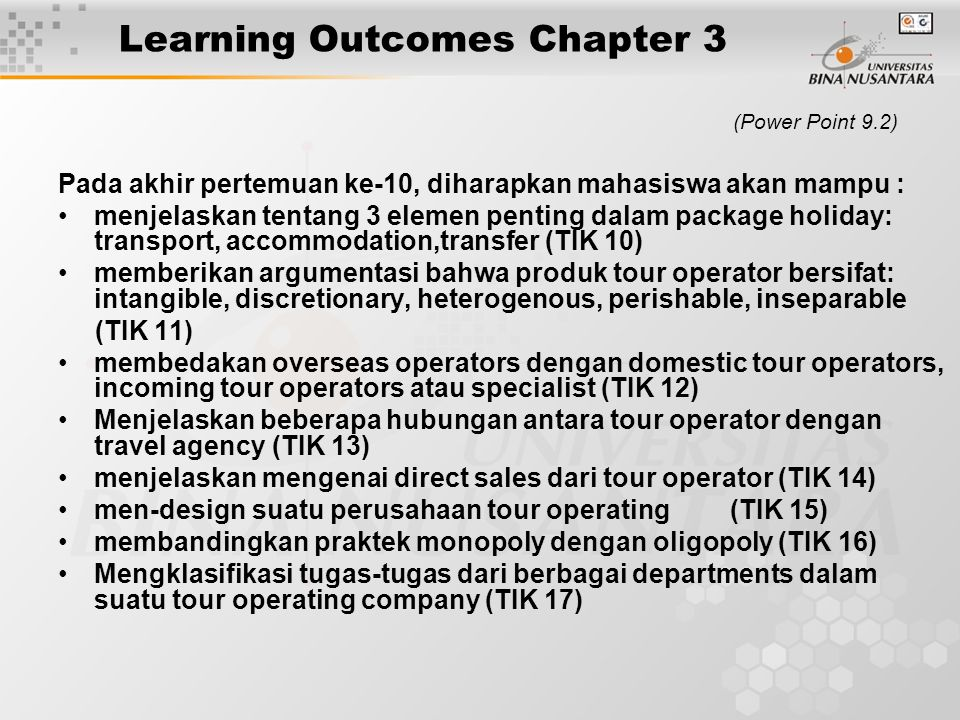 (Power Point 10.5) Difficulties met by small/new tour operators while competing with mass-market operators: Difficulty in finding bound coverage at an affordable price Problems in persuading the operator-owned multiple travel agencies to rack brochures Extra cost of override commission to agencies who prepare to stock brochures Cost of buying necessary currencies forward Impossibility of matching/undercutting the big operators' discounts and still making a profit