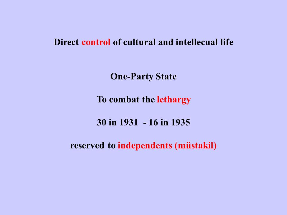 Direct control of cultural and intellecual life One-Party State To combat the lethargy 30 in 1931 - 16 in 1935 reserved to independents (müstakil)