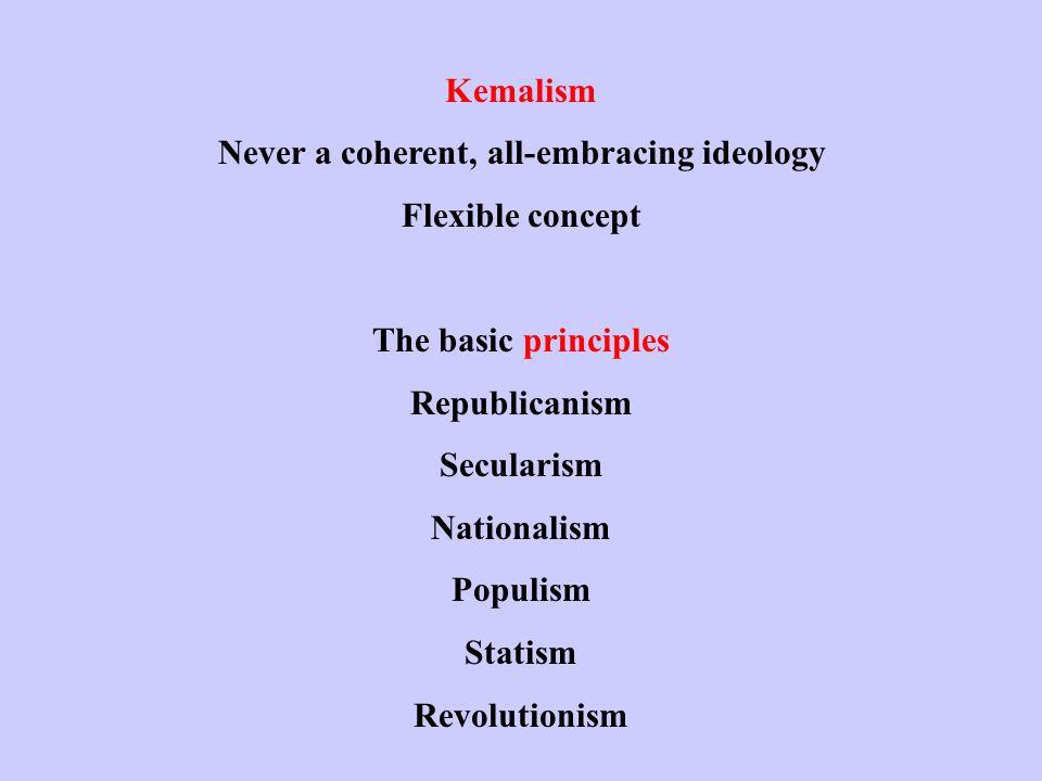Kemalism Never a coherent, all-embracing ideology Flexible concept The basic principles Republicanism Secularism Nationalism Populism Statism Revolutionism