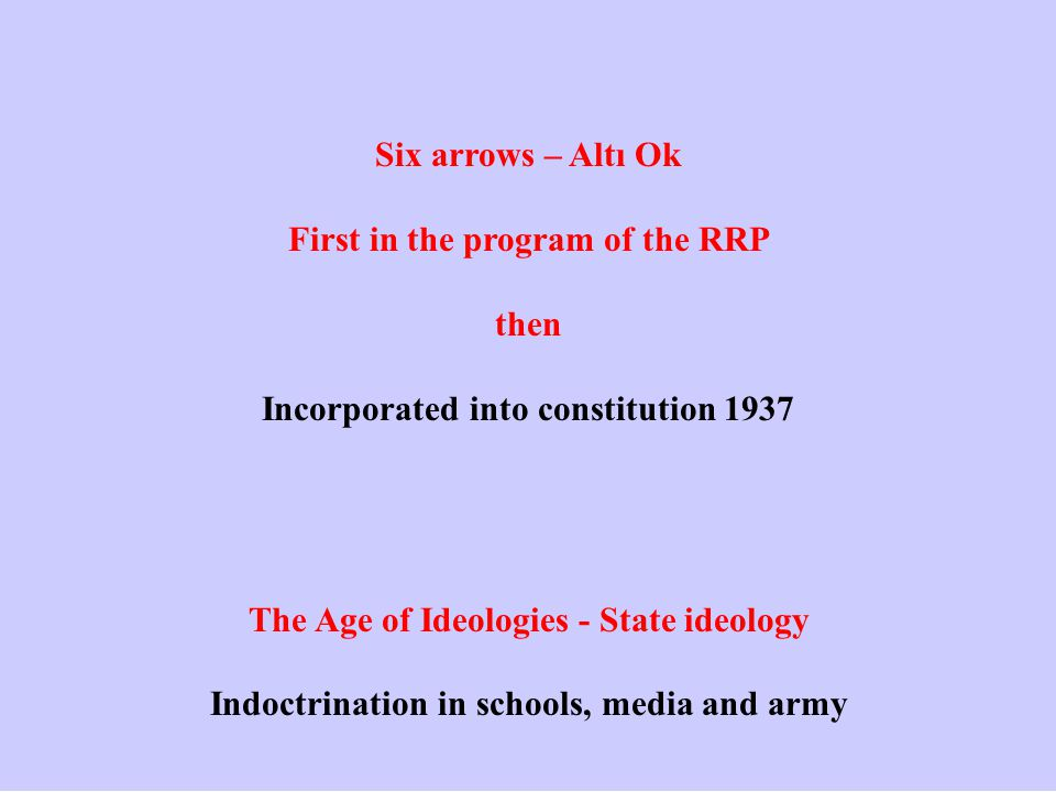 Six arrows – Altı Ok First in the program of the RRP then Incorporated into constitution 1937 The Age of Ideologies - State ideology Indoctrination in schools, media and army