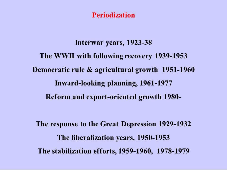 Periodization Interwar years, 1923-38 The WWII with following recovery 1939-1953 Democratic rule & agricultural growth 1951-1960 Inward-looking planning, 1961-1977 Reform and export-oriented growth 1980- The response to the Great Depression 1929-1932 The liberalization years, 1950-1953 The stabilization efforts, 1959-1960, 1978-1979