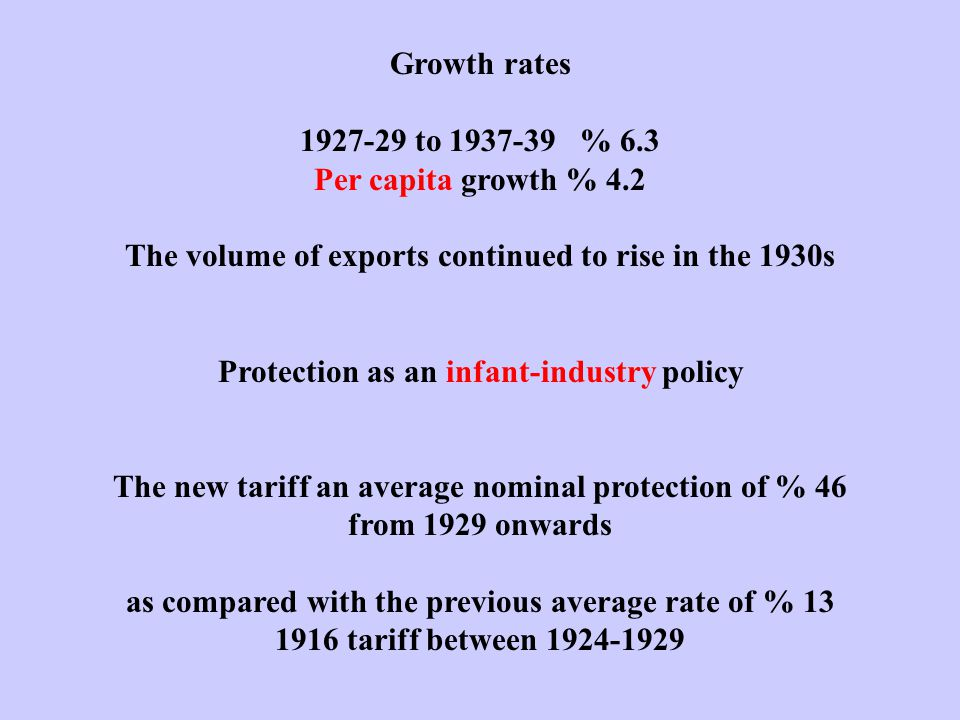 Growth rates 1927-29 to 1937-39 % 6.3 Per capita growth % 4.2 The volume of exports continued to rise in the 1930s Protection as an infant-industry po
