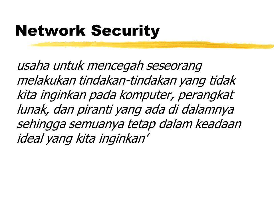 Network Security usaha untuk mencegah seseorang melakukan tindakan-tindakan yang tidak kita inginkan pada komputer, perangkat lunak, dan piranti yang