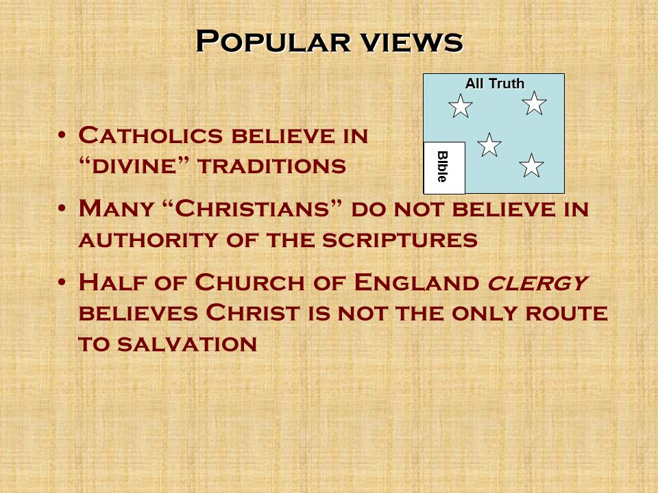 Popular views It doesn't make a difference how you worship as long as you love God.