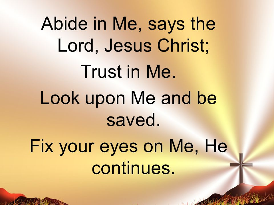 Abide in Me, says the Lord, Jesus Christ; Trust in Me. Look upon Me and be saved. Fix your eyes on Me, He continues.