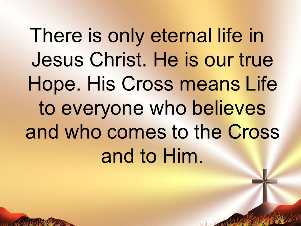 There is only eternal life in Jesus Christ.He is our true Hope.