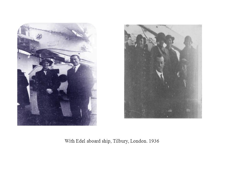 With Edel aboard ship, Tilbury, London. 1936