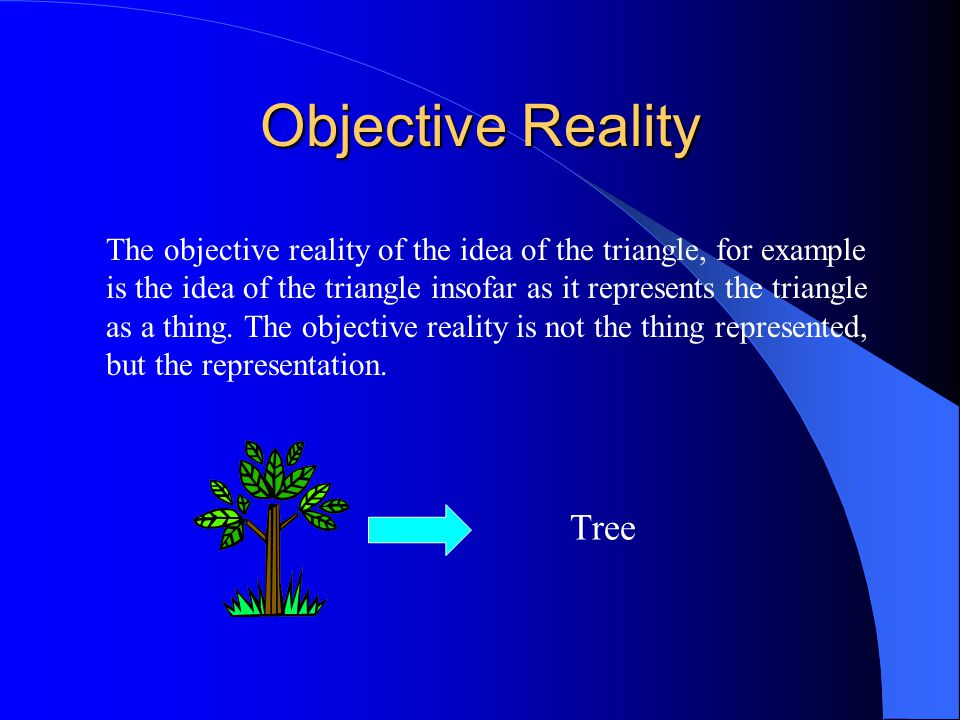 Objective Reality The objective reality of the idea of the triangle, for example is the idea of the triangle insofar as it represents the triangle as