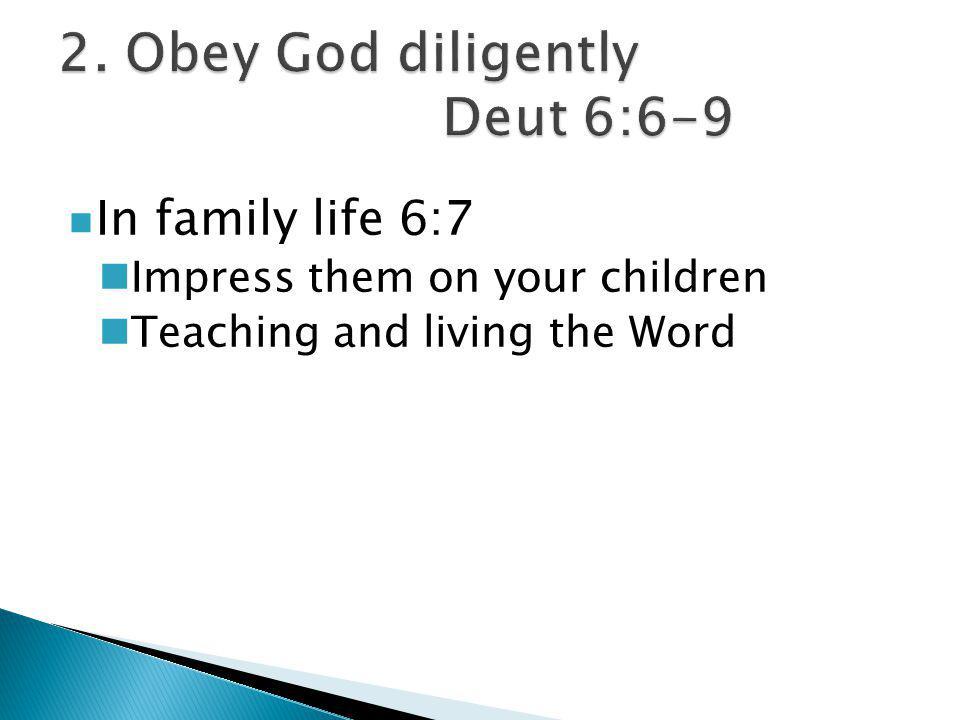 In community life 6:8,9 'Hear O Israel …' Doorposts and gates