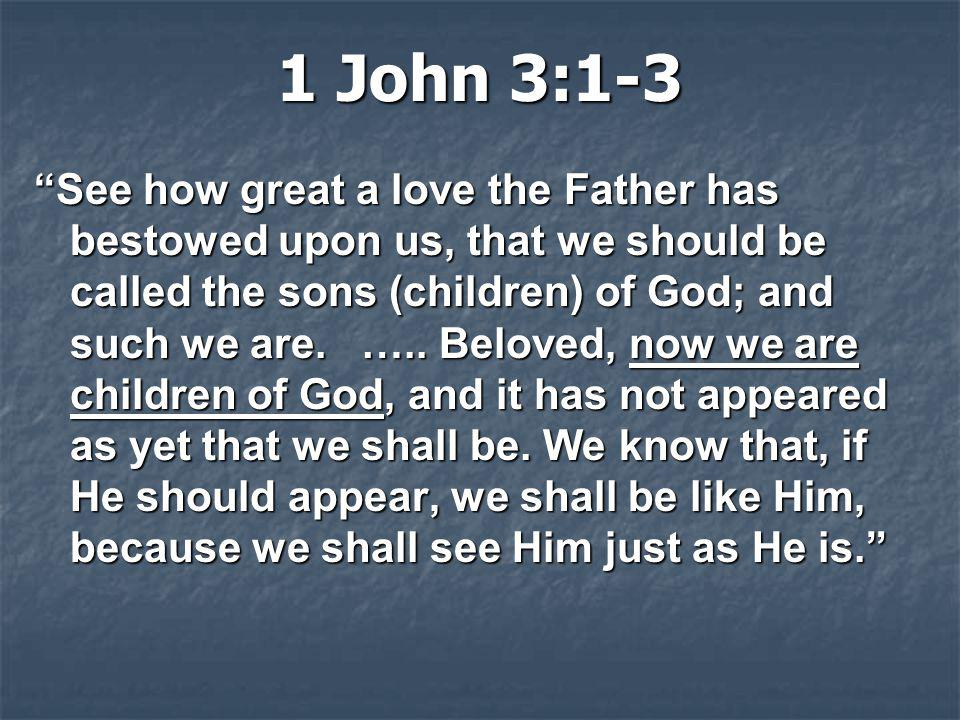 """1 John 3:1-3 """"See how great a love the Father has bestowed upon us, that we should be called the sons (children) of God; and such we are. ….. Beloved,"""