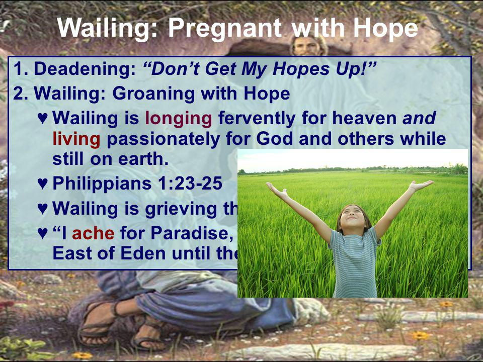 """1. Deadening: """"Don't Get My Hopes Up!"""" 2. Wailing: Groaning with Hope ♥Wailing is longing fervently for heaven and living passionately for God and oth"""