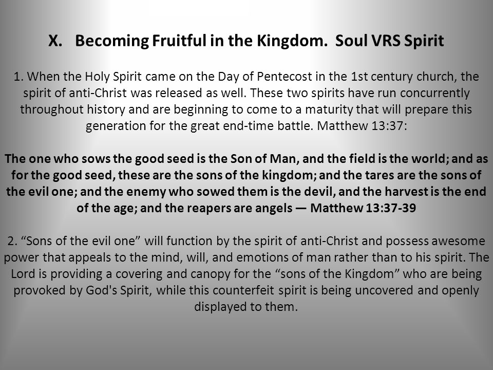 X. Becoming Fruitful in the Kingdom. Soul VRS Spirit 1.
