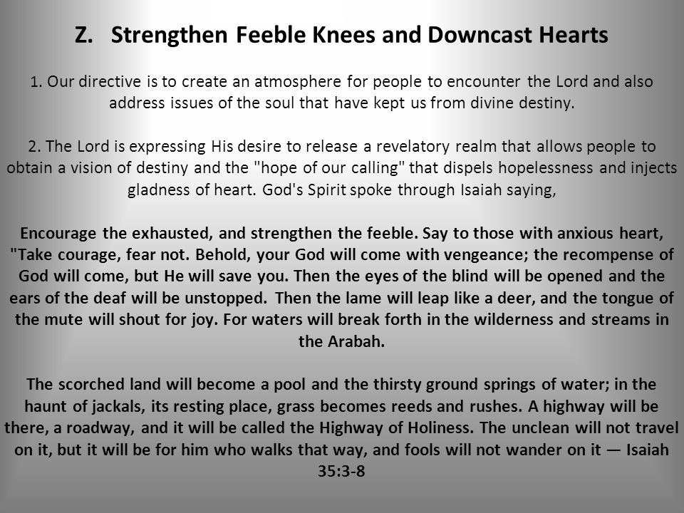 Z. Strengthen Feeble Knees and Downcast Hearts 1.