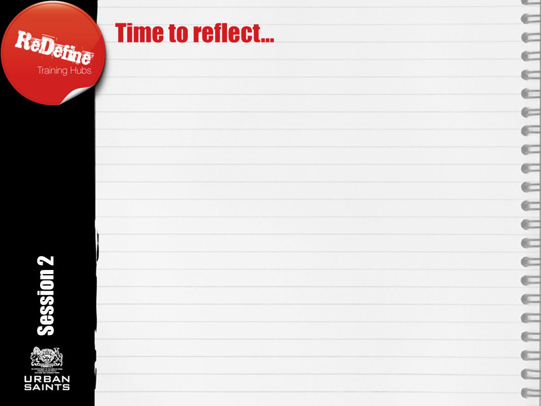Session 2 Time to reflect…