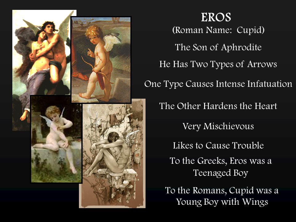 EROS (Roman Name: Cupid) The Son of Aphrodite One Type Causes Intense Infatuation He Has Two Types of Arrows The Other Hardens the Heart Very Mischievous Likes to Cause Trouble To the Greeks, Eros was a Teenaged Boy To the Romans, Cupid was a Young Boy with Wings