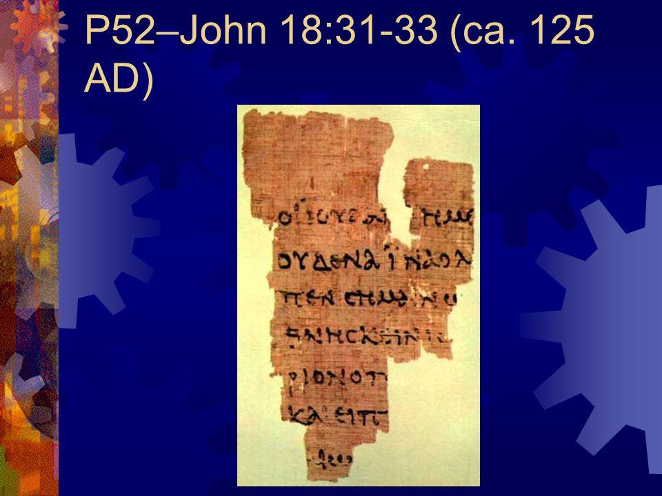 P52–John 18:31-33 (ca. 125 AD)