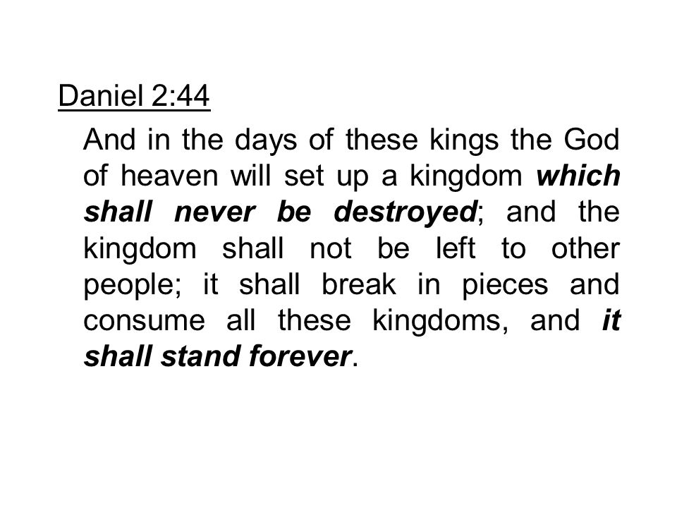 Matthew 21:43-44 Therefore I say to you, the kingdom of God will be taken from you and given to a nation bearing the fruits of it.