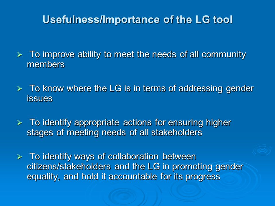 Usefulness/Importance of the LG tool  To improve ability to meet the needs of all community members  To know where the LG is in terms of addressing